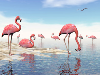 Obraz na Plexi Eko Flock of pink flamingos - 3D render