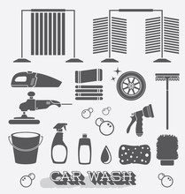 Vector Set: Car Wash Icons And Silhouettes