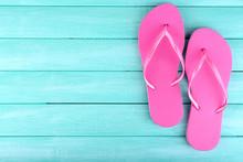 Bright Flip-flops On Color Woo...