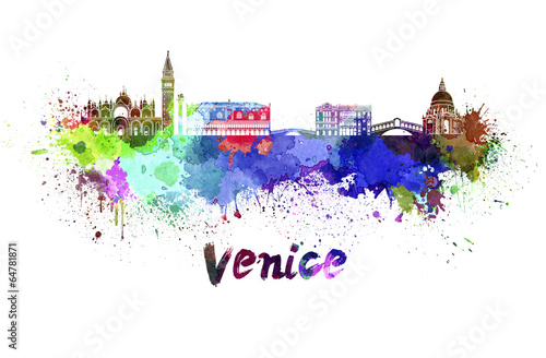 Fotografia  Venice skyline in watercolor