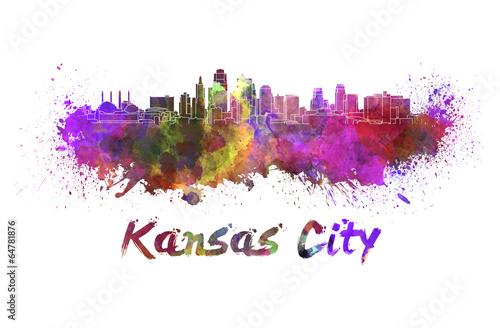 Photo Stands Beijing Kansas City skyline in watercolor