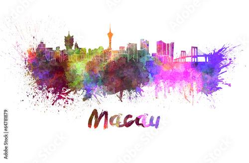 Платно  Macau skyline in watercolor