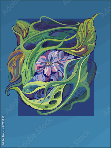 Fotografía  card art nouveau with water lily