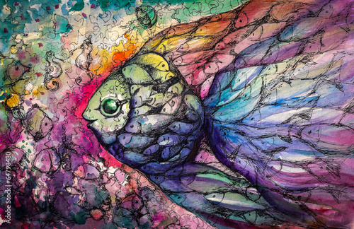 Fishes .Watercolors Fototapet