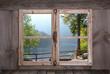 canvas print picture - Herbstliche Landschaft - Bäume am See - Holz Fenster