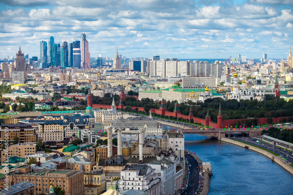 Foto  Aerial Moscow city center heart panorama