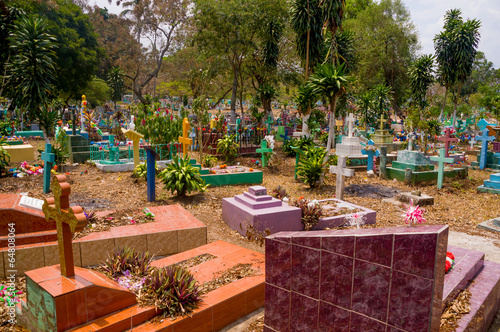 Photo sur Toile Cimetiere Central american colorful graveyard, El Salvador