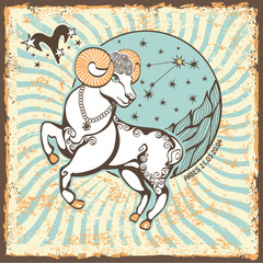 Fototapeta Aries zodiac sign.Vintage Horoscope card