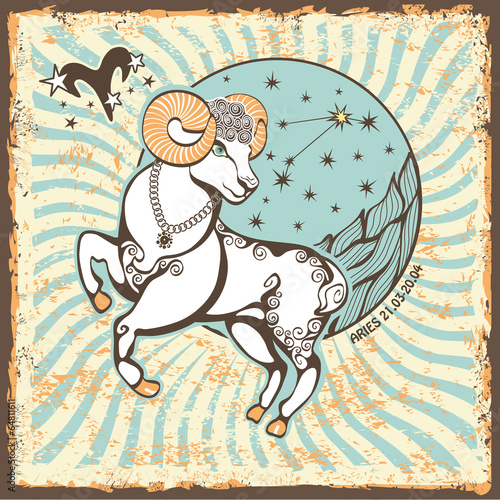 Aries  zodiac sign.Vintage Horoscope card - 64811611