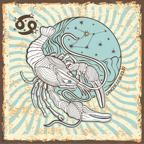 Cancer  zodiac sign.Vintage Horoscope card - 64811625