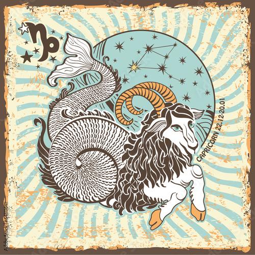 Capricorn zodiac sign.Vintage Horoscope card - 64811641