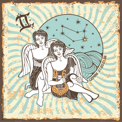 Gemini boys zodiac sign.Vintage Horoscope card - 64811655