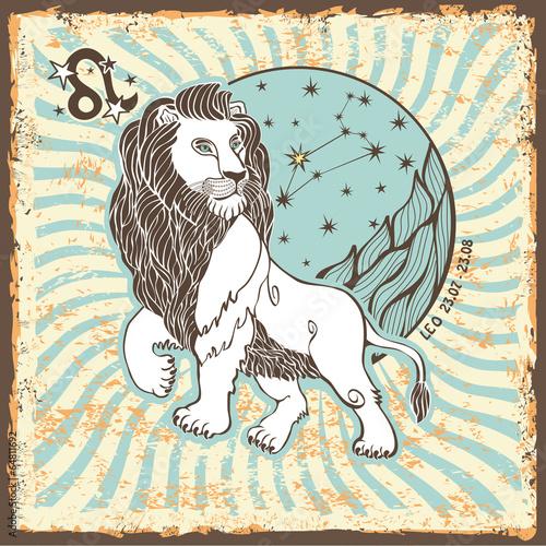 Leo zodiac sign.Vintage Horoscope card - 64811692