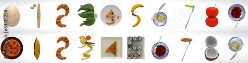 Cucina creativa, Sequenza numerata, 0-9,alimentari, cibo