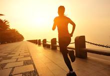 Fitness Woman Running Seaside