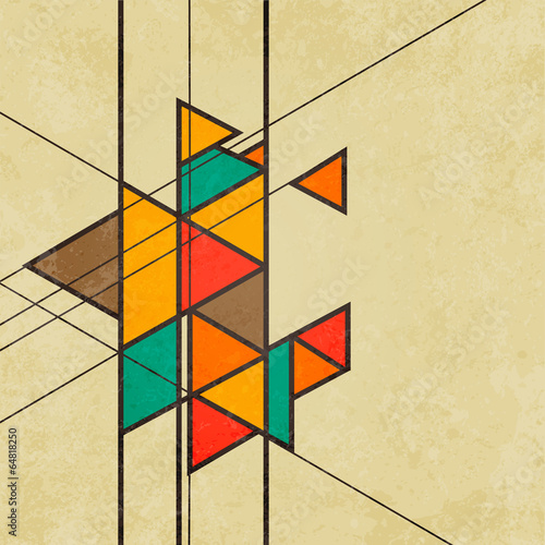 trojgraniasty-retro-abstrakcjonistyczny-tlo-wektor