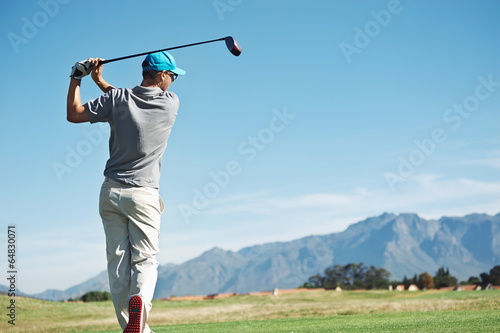 Deurstickers Golf golf tee shot