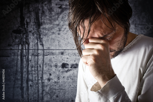 Canvas-taulu Depressive man is crying