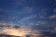 Dramatic Evening Sky. Sunset Over Ocean.