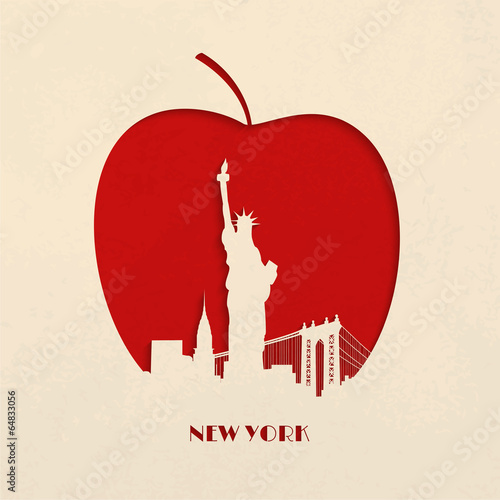 Fotomural  Cut-out silhouette of Big Apple New York