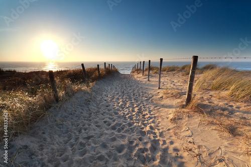 Plakat ścieżka na piasku do plaży nad Morzem Północnym