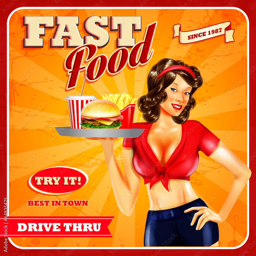 Fototapeta fast food girl
