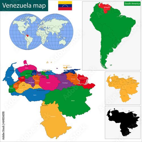 Venezuela map Wallpaper Mural