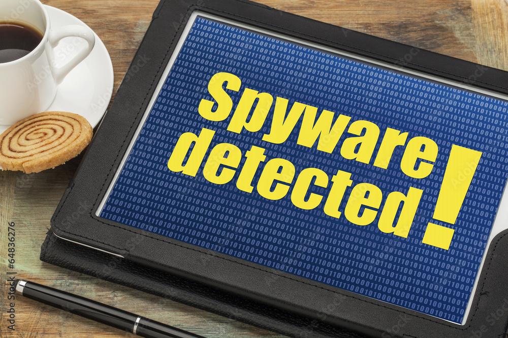 Fototapeta spyware alert on digital tablet