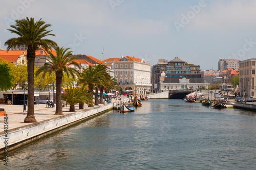 Fotografie, Obraz  Aveiro city view. Boats on the river. Portugal.