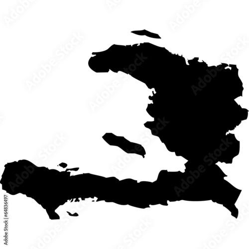 Canvas Print High detailed vector map - Haiti.