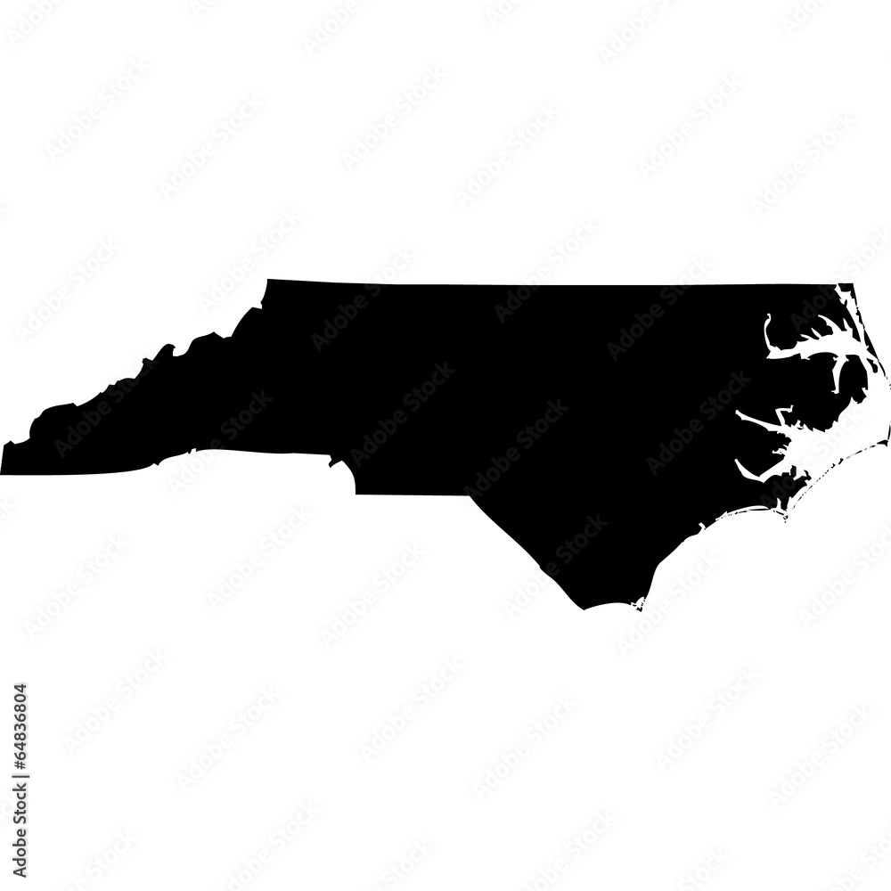 Fototapety, obrazy: High detailed vector map - North Carolina.