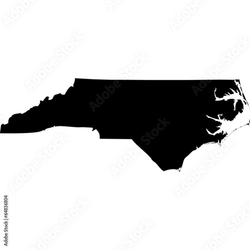 Obraz High detailed vector map - North Carolina. - fototapety do salonu