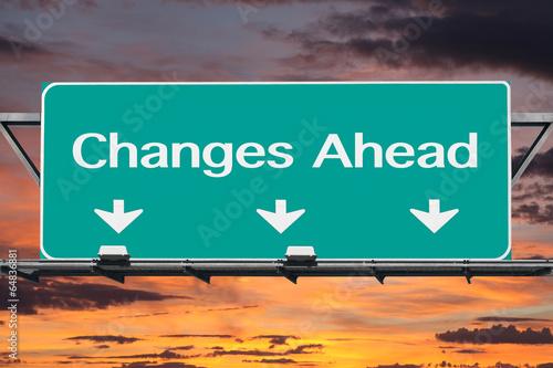 Fotografie, Obraz  Changes Ahead Freeway Road Sign
