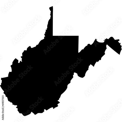 Fotografie, Obraz  High detailed vector map - West Virginia.
