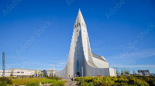 Fotografering  Beautiful super wide-angle aerial view of Reykjavik, Iceland wit
