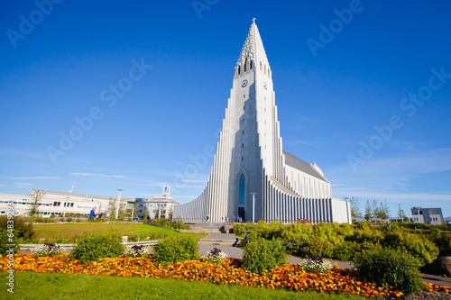 Fotografia, Obraz  Beautiful super wide-angle aerial view of Reykjavik, Iceland wit