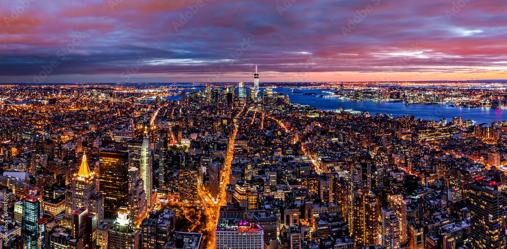 Fototapety, obrazy: Aerial New York panorama at dusk