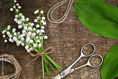 Garden Poster Lily of the valley Florist table with accessories