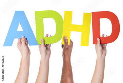Photo Multiethnic Arms Raised Holding ADHD