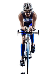 Fototapeta Sport man triathlon iron man athlete cyclists bicycling
