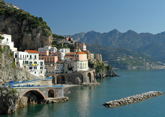 Fototapeta na wymiar Amalfi Coast  with Atrani village and Lattari Mountains