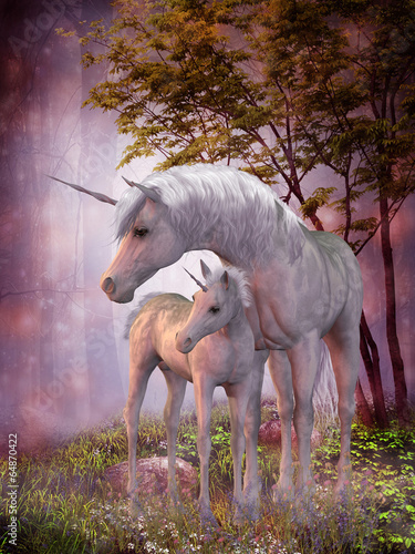 Unicorn Mare and Foal Wallpaper Mural