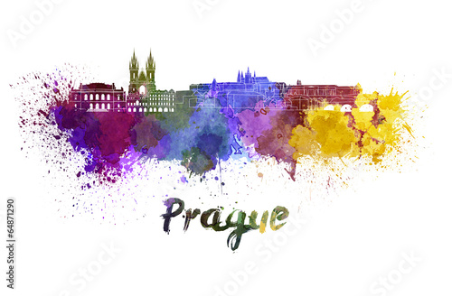 Prague skyline in watercolor Poster
