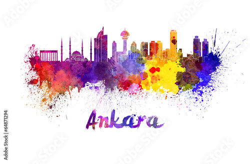 Foto op Canvas Barcelona Ankara skyline in watercolor