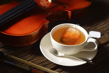 Cup Of Tea With Tea Bag And Vi...