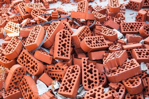 Valokuva  Pile of new intact and beaten bricks