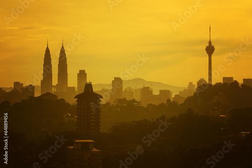 silhouette of kuala lumpur city Poster