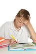 Boy is doing homework