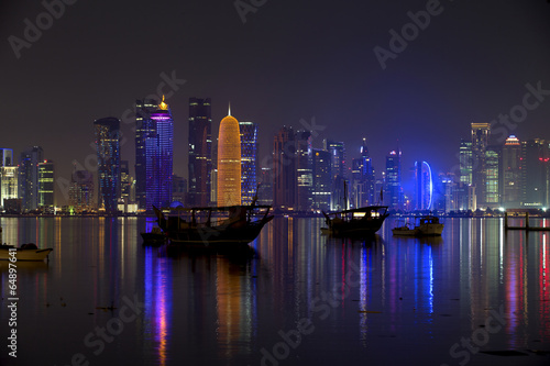 Fotobehang Midden Oosten Doha skyline at night, Qatar, Middle East