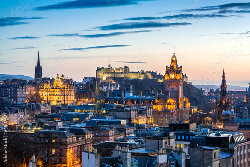 Edinburgh Evening Skyline HDR Canvas Print